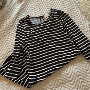 Black and White Striped 3/4 Sleeved Dress